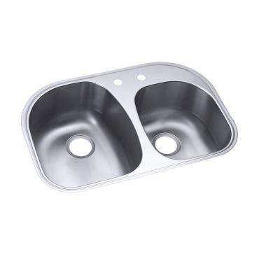 Cinch Undermount Stainless Steel 21 in. 2-Hole Double Bowl Kitchen Sink