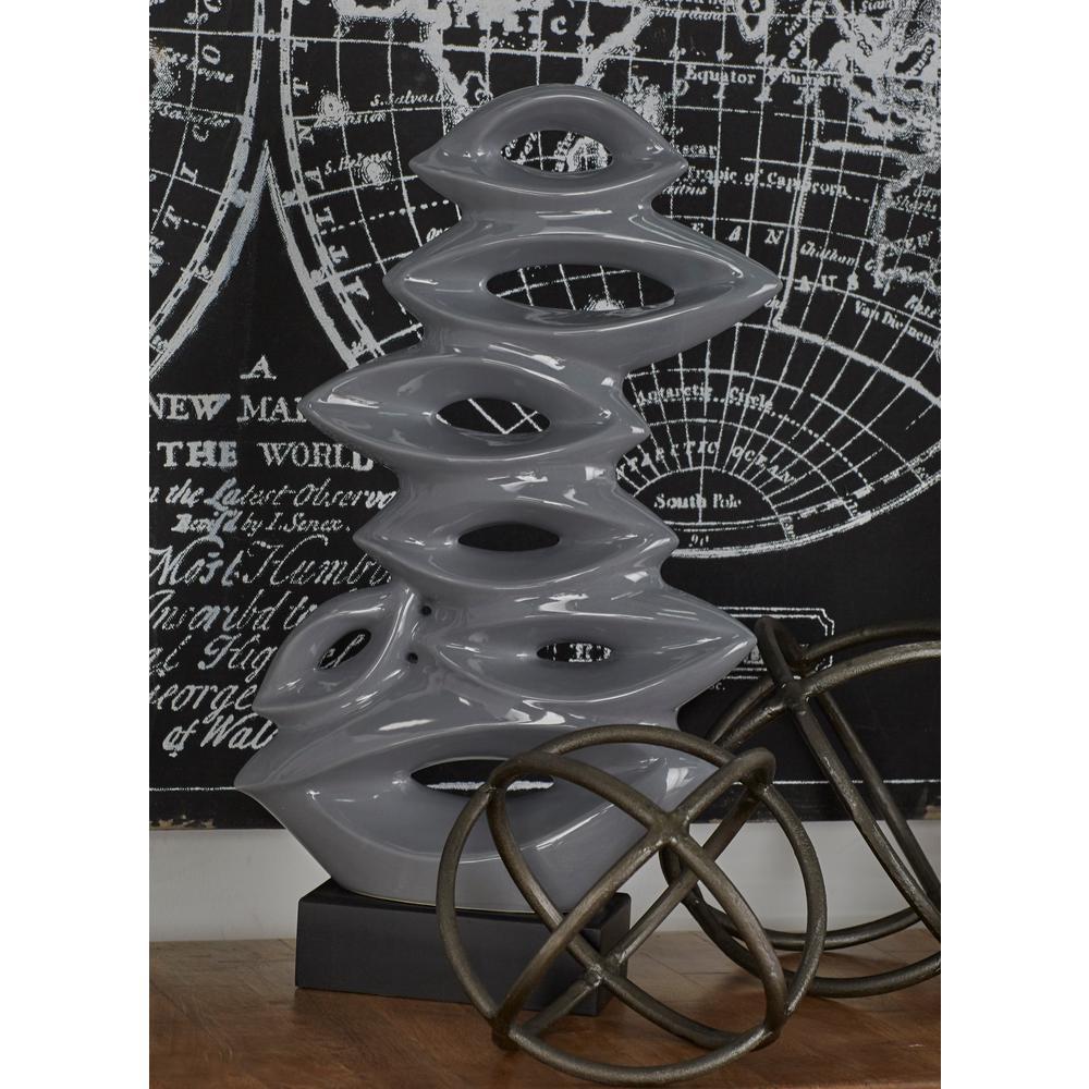 Gray Abstract Pea Pod Porcelain Sculpture