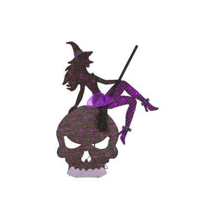65 in. Purple LED Witch and Skull