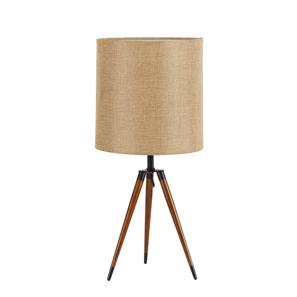Silverwood Furniture Reimagined 19 In Arthur Wooden Compass Leg Tripod Brown Table Lamp With Shade