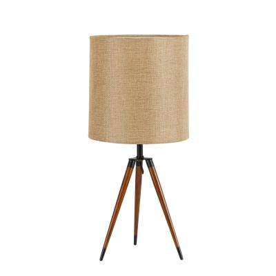19 in. Arthur Wooden Compass Leg Tripod Brown Table Lamp with Shade