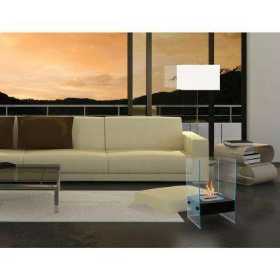 Hudson 12 in. Vent-Free Ethanol Fireplace in Black/Tempered Glass