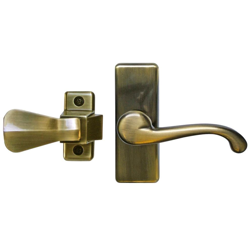 Merveilleux IDEAL Security Antique Brass Storm Door Lever Handle Set