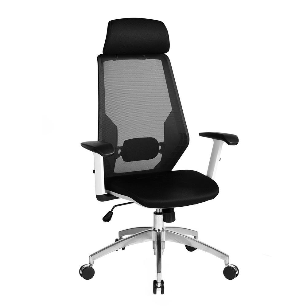 Adolf Black White Aluminum Base High Mesh Back Armrest Office Desk Chair