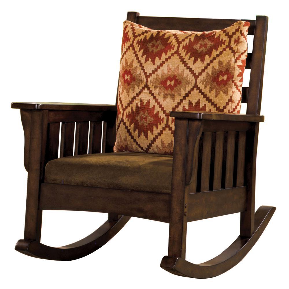 Venetian Worldwide Dark Oak Wood Rocking Arm Chair Dark Oak Finish Morrisville