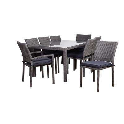 Atlantic Liberty 3-Piece Wicker Outdoor Dining Set with Grey Cushions