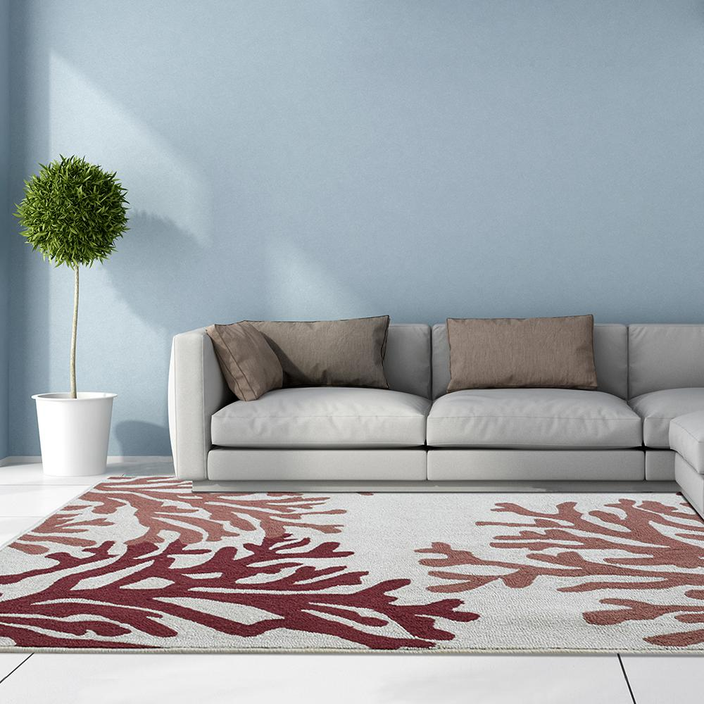 Lanart Coral Cream Polyester 5 ft. x 7 ft. 6 in. Area Rug