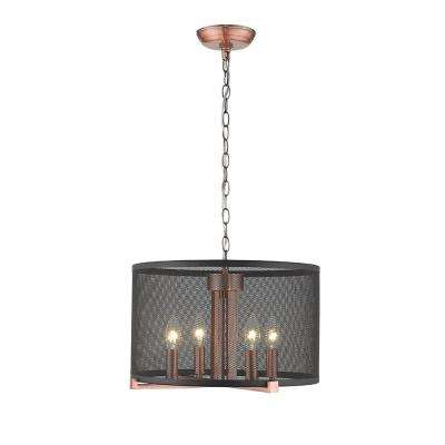 Lancelot III 4-Light Cooper Satin Finish 16 in. LED Pendant