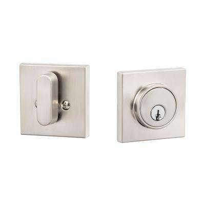 Modern Satin Nickel Square Single-Cylinder Deadbolt