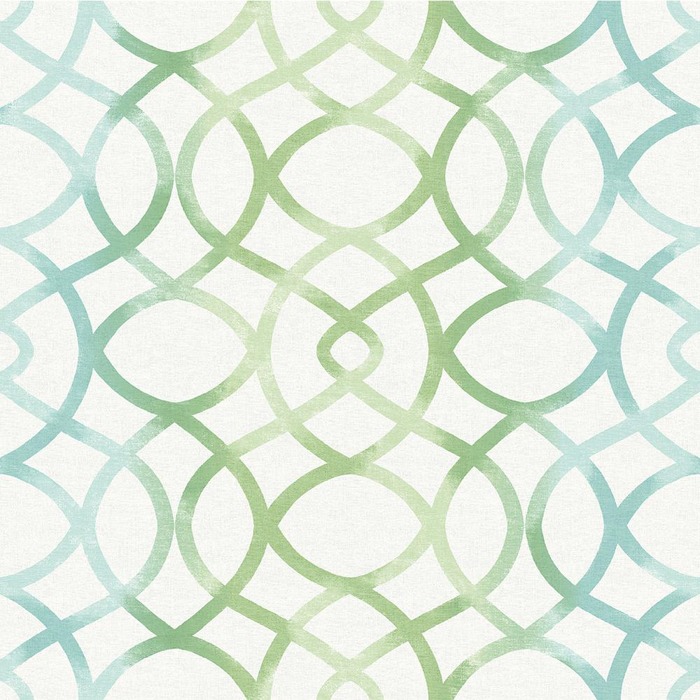 A-Street Twister Aquamarine Trellis Wallpaper 2697-78032 - The Home Depot