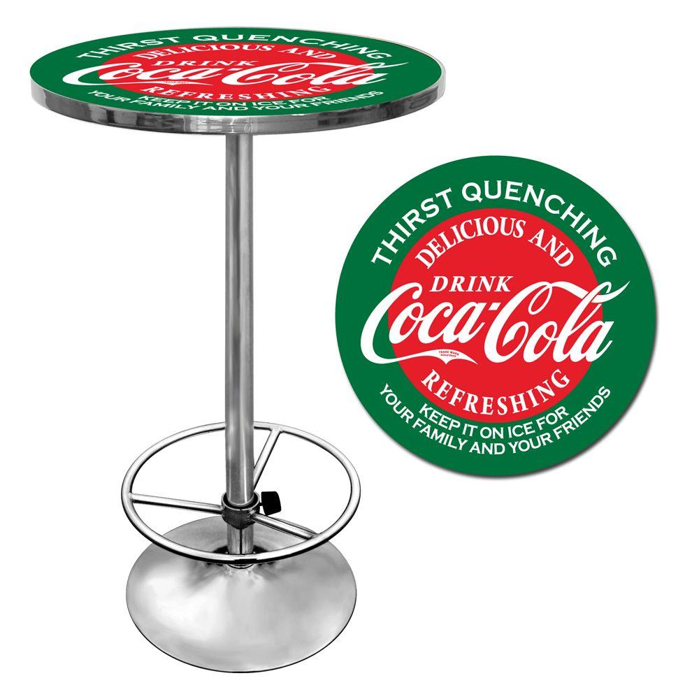 Red and Green Coca-Cola Chrome Pub/Bar Table, Red & Green...