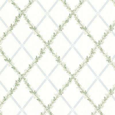 56.4 sq. ft. Bramwell Blue Harlequin Trellis Wallpaper
