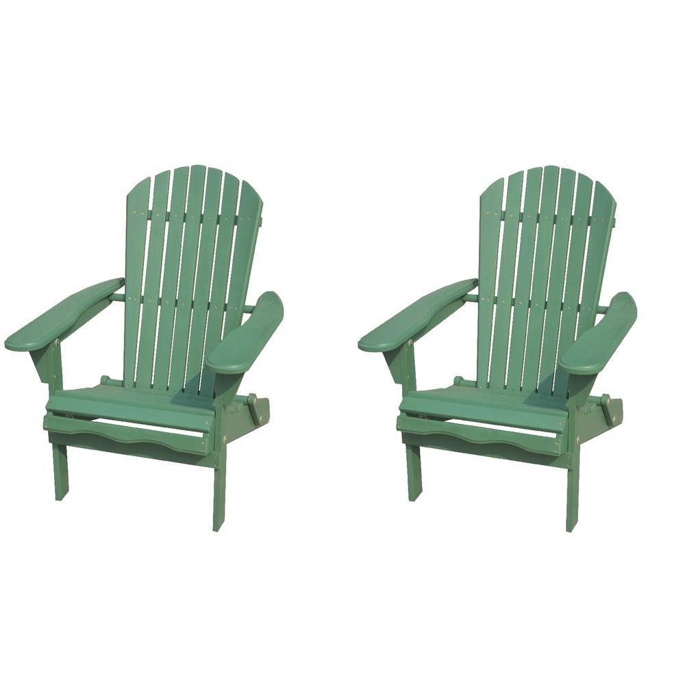 Classic Sea Green Folding Wood Adirondack Chair (2-Pack)