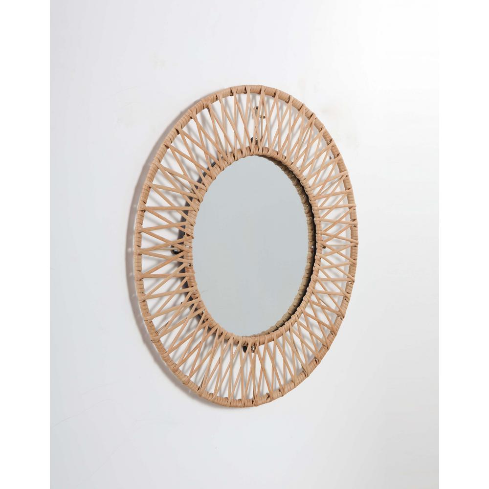 Stylewell Medium Round Brown Modern Accent Mirror With Polyrattan Braiding 24 In Diameter Mr1812326 Nat The Home Depot