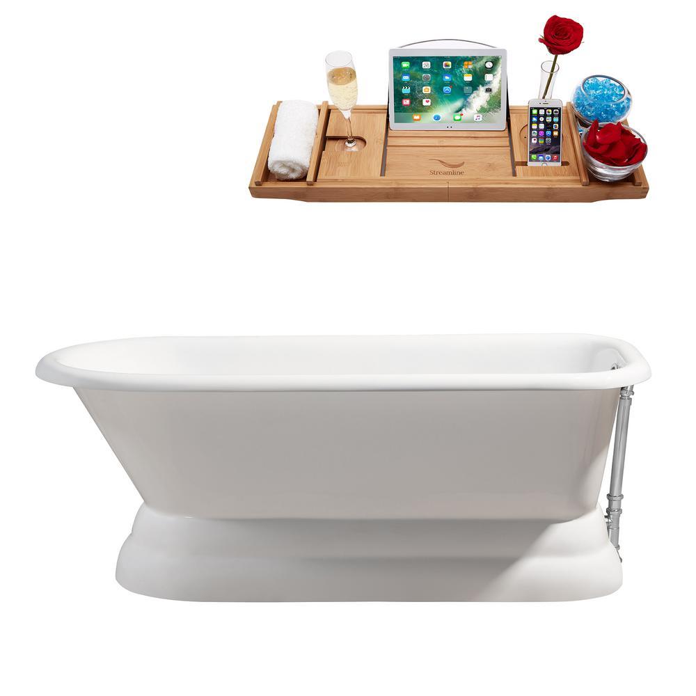66 in. Cast Iron Flatbottom Non-Whirlpool Bathtub in Glossy White