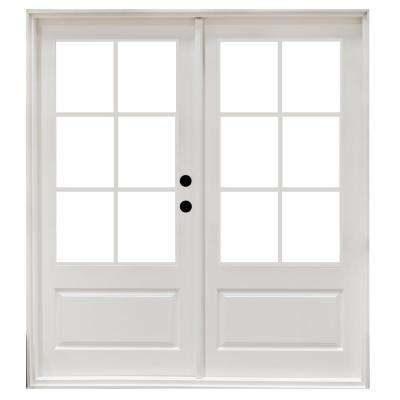 60 in. x 80 in. Fiberglass Smooth White Left-Hand Outswing Hinged 3/4-Lite Patio Door with 6-Lite GBG