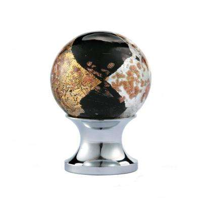 1 in. Black and Gold Round Blown Glass Cabinet Knob