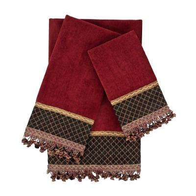 Arcadia Red Embellished Towel Set (3-Piece)