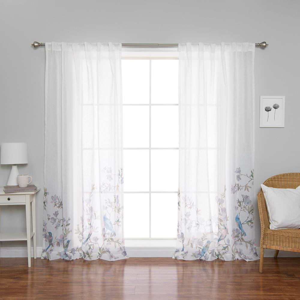 Best Home Fashion 84 in. L x 52 in. W Sheer Bluebird Rod Pocket Curtain Panels (2-Pack)