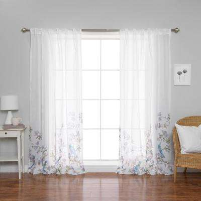84 in. L x 52 in. W Sheer Bluebird Rod Pocket Curtain Panels (2-Pack)