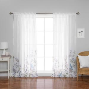 Click here to buy  84 inch L x 52 inch W Sheer Bluebird Rod Pocket Curtain Panels (2-Pack).