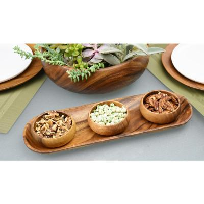 4 in. 4-Piece Wooden Round Dip and Nut Bowl Set