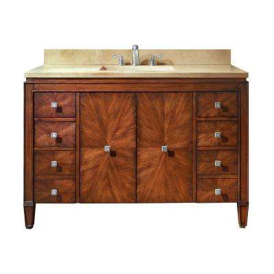 Brentwood 49 in. W x 22 in. D x 35 in. H Vanity in New Walnut with Marble Vanity Top in Galala Beige and White Basin