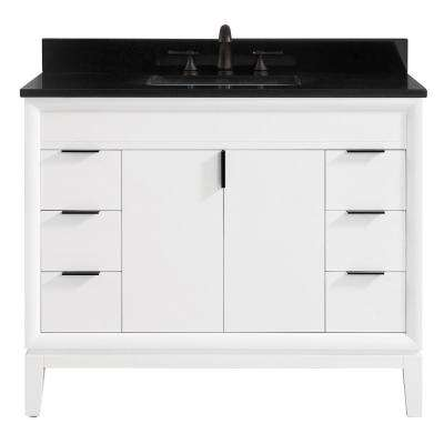 Emma 43 in. W x 22 in. D x 35 in. H Bath Vanity in White with Granite Vanity Top in Black with White with Basin