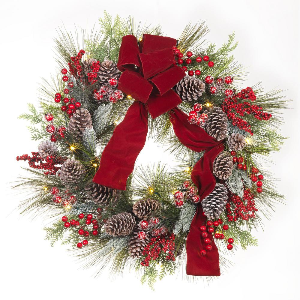 Pre-Lit Artificial Christmas Wreath with Pinecones and Burgundy Ribbon