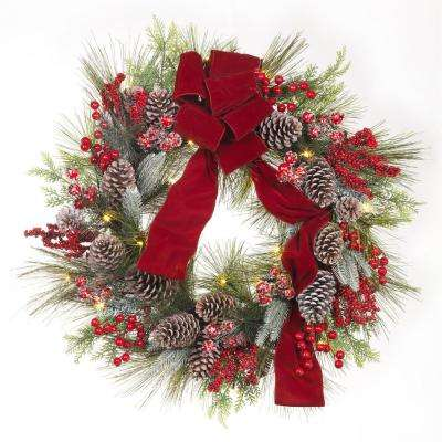30 in. Pre-Lit Artificial Christmas Wreath with Pinecones and Burgundy Ribbon