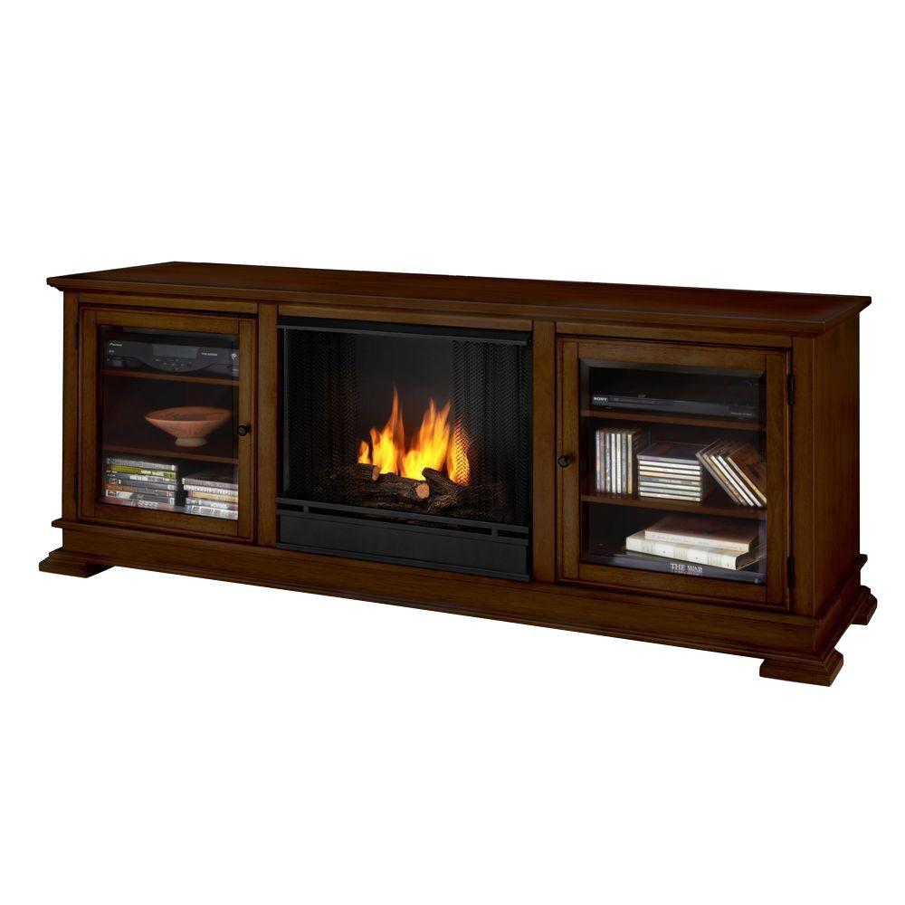 Real Flame Hudson 68 in. Media Console Gel Fuel Fireplace in Espresso
