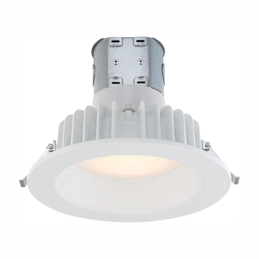 Commercial Electric Easy-Up 6 in. White Baffle Integrated LED Recessed Kit at 91 CRI, 2700K, Warm White