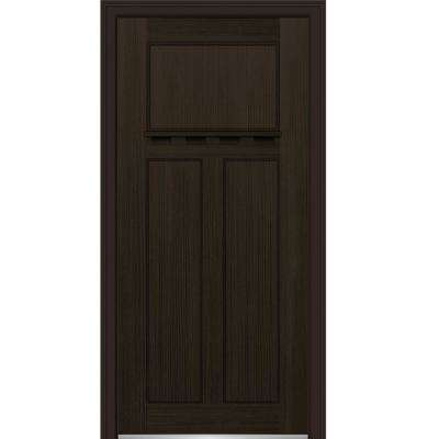 36 in. x 80 in. Shaker Right-Hand Craftsman 3-Panel Stained Fiberglass Fir Prehung Front Door with Dentil Shelf