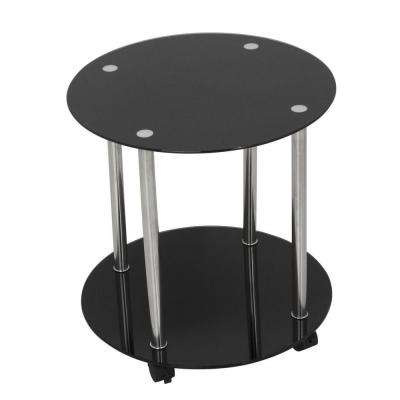 Black Glass and Chrome 2-Tier Wheeled Side/Lamp/End or Occasional Table
