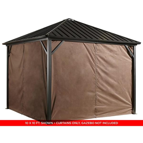 Sojag 10 Ft W X 12 Ft H Curtains For Brown Dakota Sun Shelter With Zippers And Steel Hooks Gazebo Not Included 135 9163872 The Home Depot