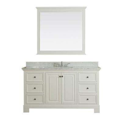 Richmond 60 in. W x 22 in. D Vanity in White with Marble Vanity Top in White with White Basin and Mirror