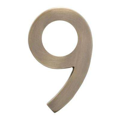 4 in. Antique Brass Floating House Number 9