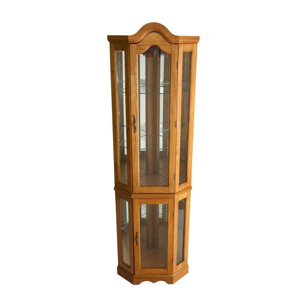 Southern Enterprises Lighted Corner Curio Cabinet in Golden Oak