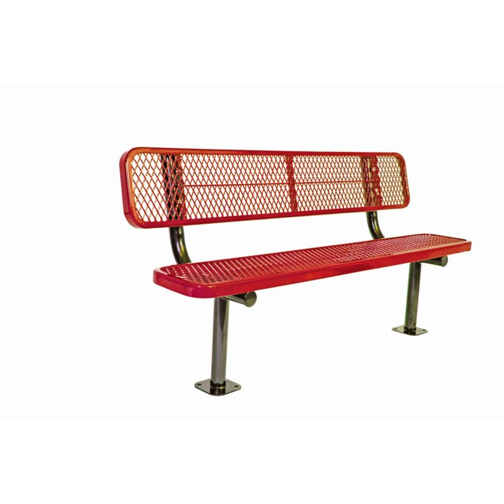 Ultra Play 6 ft. Diamond Red Commercial Park Bench with Back Surface Mount