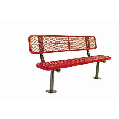 6 ft. Diamond Red Commercial Park Bench with Back Surface Mount