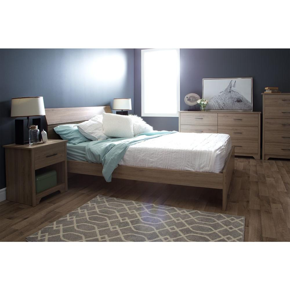South Shore Vito Rustic Oak Queen Bed Frame9063282 The Home Depot