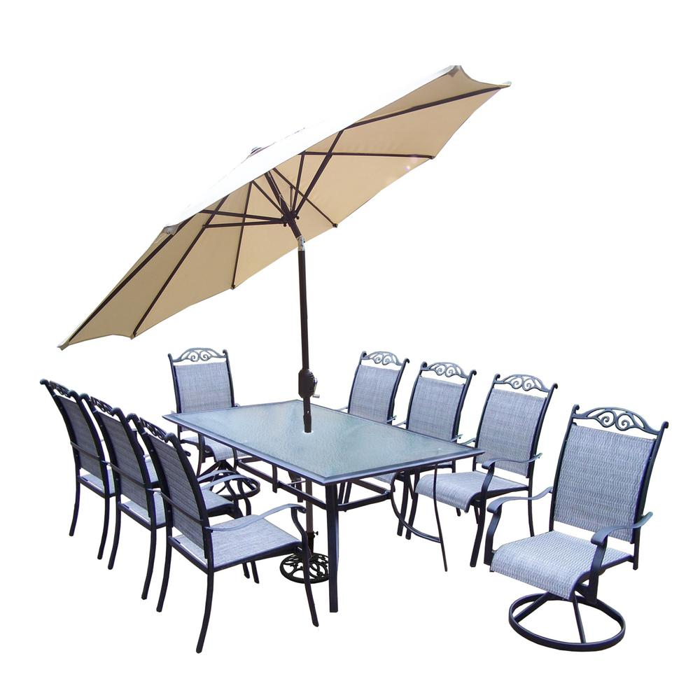 Black 11-Piece Aluminum Outdoor Dining Set and Beige Umbrella