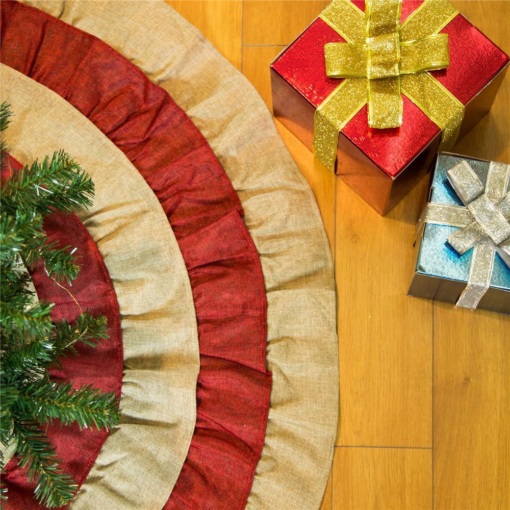 Christmas Tree Skirt Pattern.Glitzhome 48 In D Christmas Faux Burlap Tree Skirt
