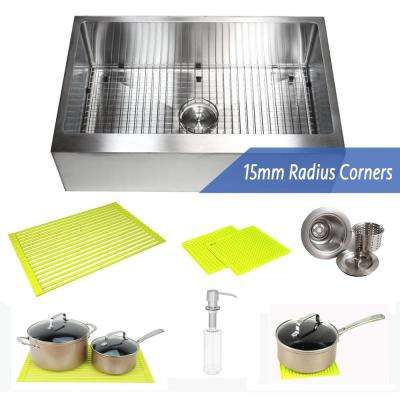 33 in. x 21 in. x 10 in. 16-Gauge Stainless Steel Farmhouse Apron Flat Front Single Bowl Kitchen Sink Combo