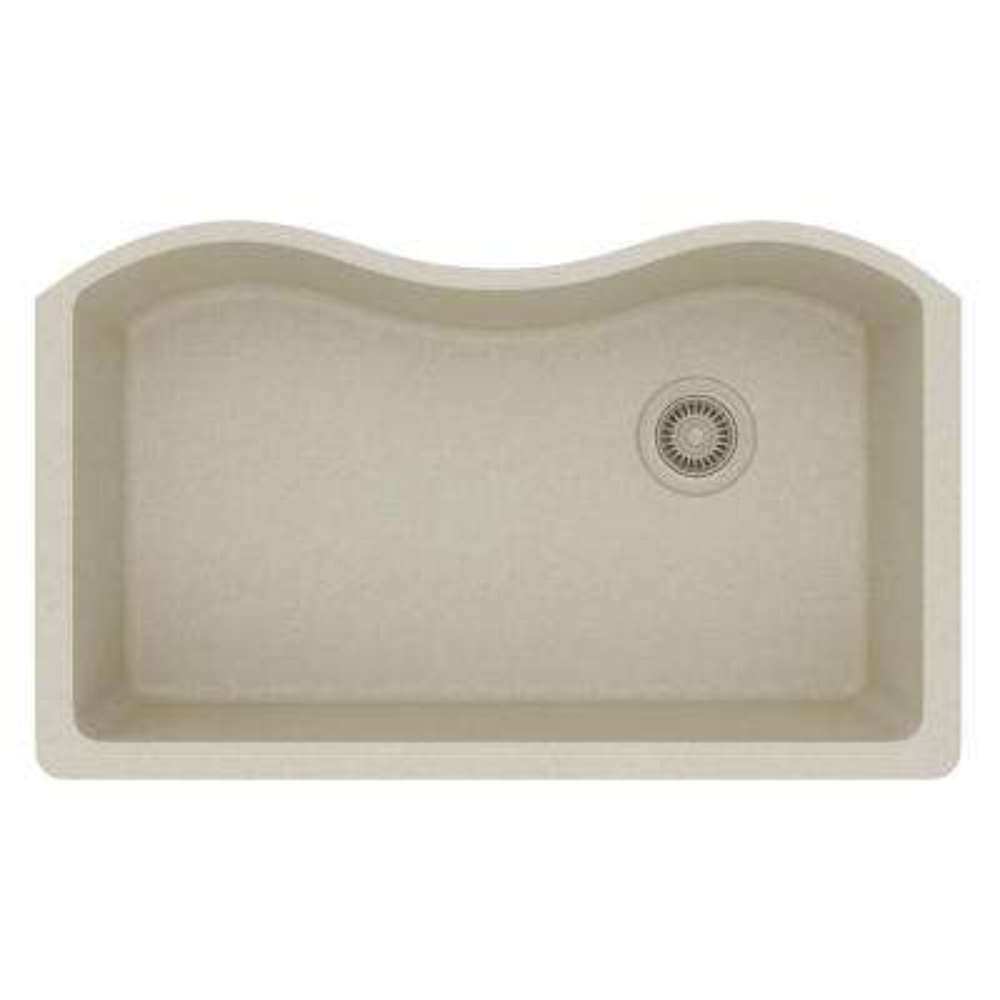 Quartz Classic Undermount Composite 33 in. Single Bowl Kitchen Sink in Bisque