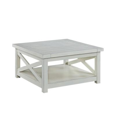 Seaside 36 in. White Medium Rectangle Wood Coffee Table with Shelf