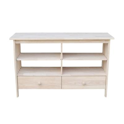 Mission 48 in. Unfinished Wood TV Stand with 2 Drawer Fits TVs Up to 50 in. with Cable Management