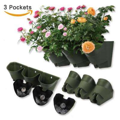 18 in. Self-Watering 3 Pockets Vertical Wall Garden Plastic Planters