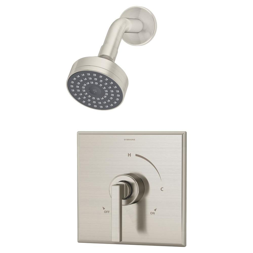 Duro Single-Handle 1-Spray Shower System in Satin Nickel (Valve Included)