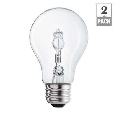 100-Watt Equivalent A19 Clear Halogen Light Bulb (2-Pack)